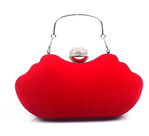 Rrock Evening Banquete Bolso De Franela De Diamantes Conjunto Banquete Bolsa Novia Con Vestido De Noche Bolso De Las Señoras,Red Red
