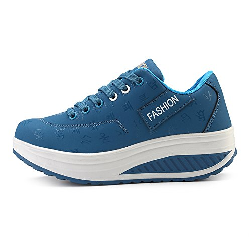 Ginnastica Running KUAIKUHEI Heeled Zeppa Casual Outdoor Scarpe da Sneakers Donna Piattaforma Tennis Sportive Blue3 Stringate Fitness qOWORtr1
