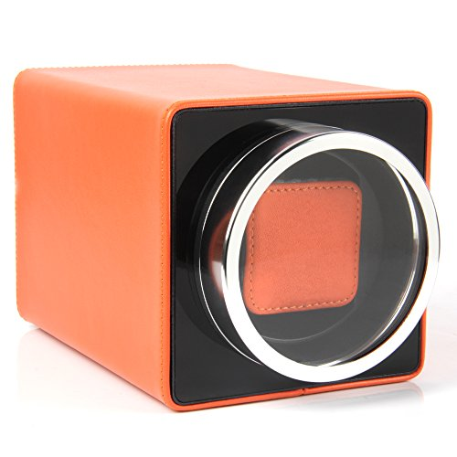 - Single Watch Winder Black with 4 Rotation Mode Setting for Rolex, Fit Man Women Automatic Watch (Orange)