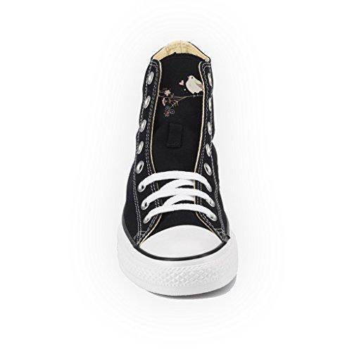 Fiori Converse Alta Artigianali Oro Personalizzate Nera Borchie Con Scarpe All Star Stampa aqAa6pxP