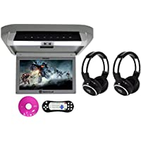 Package: Rockville RVD10HD-GR 10.1 Gray Flip Down Monitor With DVD Player, HDMI, USB/SD, Games, and LED Mood Light + (2) Rockville RFH3 Dual Channel Wireless Ir Headphones