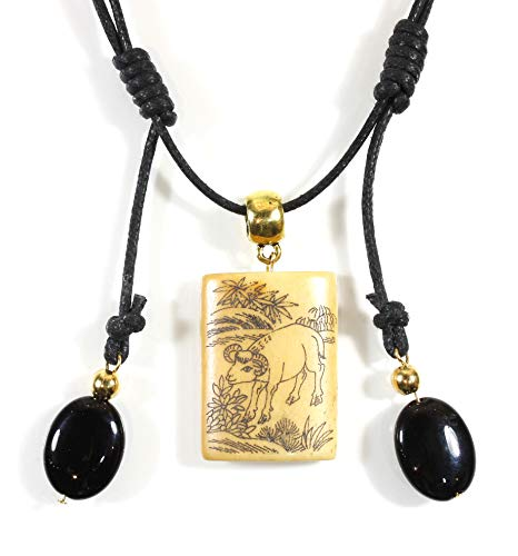 Style ARThouse Sheng Xiao, Chinese Zodiac Carved Bone Necklace, Which Year were You Born? (Ram/Sheep)