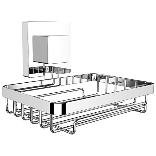 HOME SO Soap Dish and Soap Tray with Powerful Suction Cup - Prisma Collection, Stainless ()