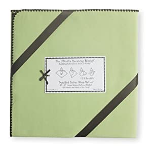SwaddleDesigns Ultimate Swaddle Blanket, Made in USA Premium Cotton Flannel, Pastel with Chocolate Brown Trim, Lime