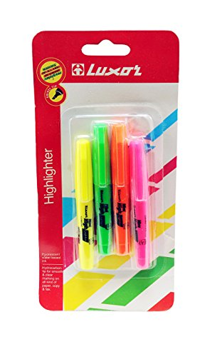 Mini Highlighters, Chisel Tip for Fine and Broad Lines, Colors: Green, Orange, Pink, Yellow from Northland Wholesale. (4-Mini Highlighters)