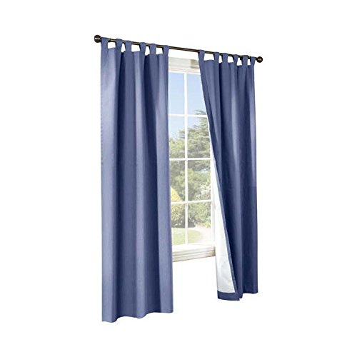 Commonwealth Home Fashions 70292-153-601-84 Thermalogic Insulated Solid Color Tab Top Curtain Pairs 84 in., Blue