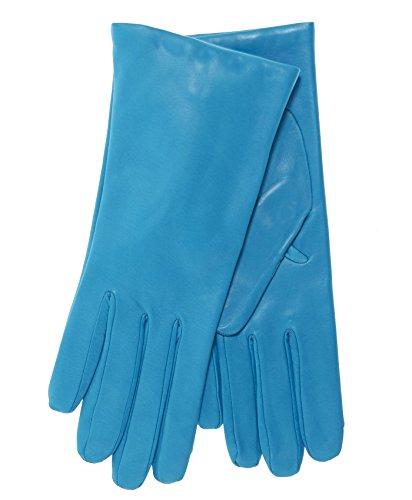 Fratelli Orsini Everyday Women's Italian Cashmere Lined Leather Gloves Size 6 1/2 Color Aqua