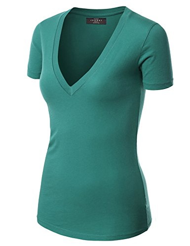Made By Johnny WT3 Womens Basic Fitted Soft Short Sleeve Deep V Neck T Shirt M Teal