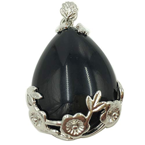 Jewelry58718 Fashion Lapis Lazuli Water Drop Flower Pendant Bead (Black Agate C7551)