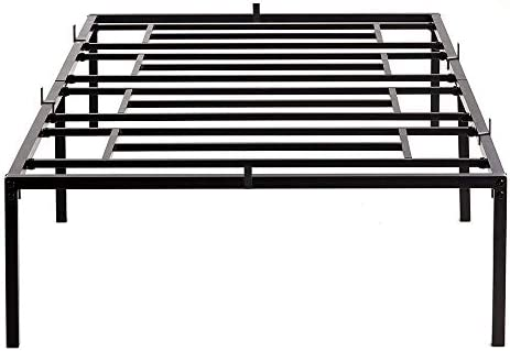 Bed Frame Twin 14 Inch Heavy Duty Metal Bed Frame Mattress Frame, Noise-Free and Anti-Slip Mattress Foundation No Box Spring Needed Maximum Under-Bed Storage Easy Assembly