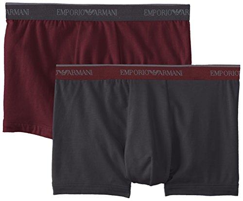 - Emporio Armani Men's Stretch Cotton 2 Pack Boxer, Smoke/Aubergine, Large
