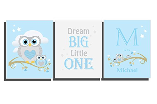 Customize Baby Boys Nursery Room Décor Owl Wall Art Set of 3 Unframed Prints 8 x 10 inch Personalize Bedroom Name Letter Initial Blue Gray White