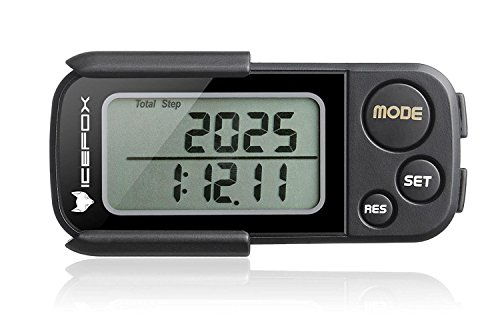 icefox Walking 3D Pedometer with Clip and Strap,30 Days Memory,Best Accurate Step Counter,Walking Distance Miles and Km,Calorie Counter,Daily Target Performance Monitor,Exercise Time(Black)
