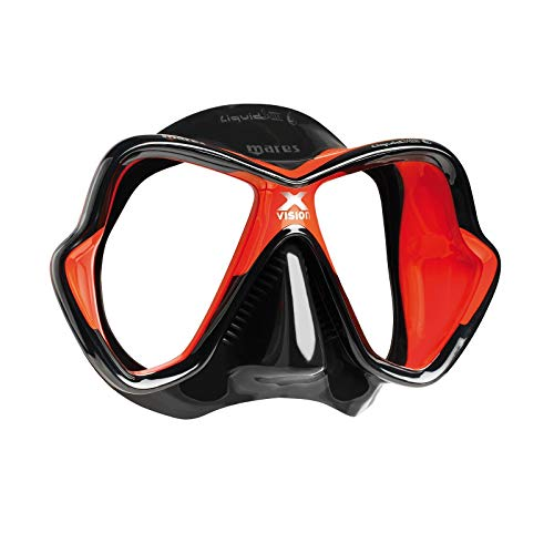 Mares X-Vision Ultra Liquid Skin Dive Mask, Black/Red (Renewed)