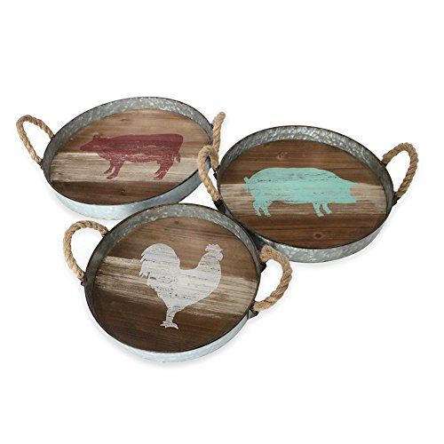 Barnyard Designs Round Metal & Wooden Decorative Nesting Tray Set, Vintage Rustic Distressed Design, Serving Trays for Country Kitchen, Coffee Table, Set of 3