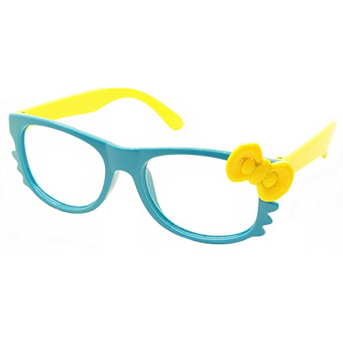 FancyG® Cute Nerd Glass Frame with Bow Tie Cat Eyes Whiskers Eyewear for Kids 3-12 NO LENS - Blue with Yellow Bow]()