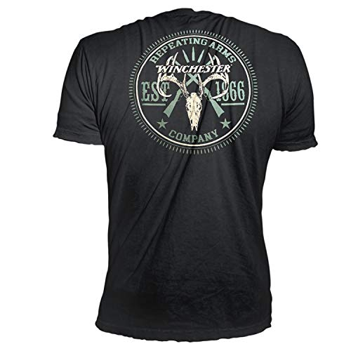 Official Winchester Deer Skull and Hunting Riffle Graphic Short Sleeve Men's Cotton T-Shirt Black (Best Deals On Glocks)