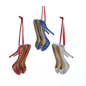 "Kurt Adler 2.25"" Glittered High Heels Ornament Set of 3"