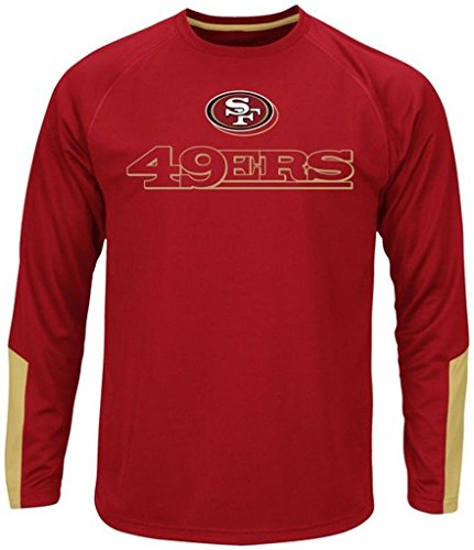 Majestic San Francisco 49ers NFL Mens Cutting Through Cool Base Long Sleeve Shirt Red Big & Tall Sizes (2XT) - Majestic Athletic Red Long Sleeve Shirt