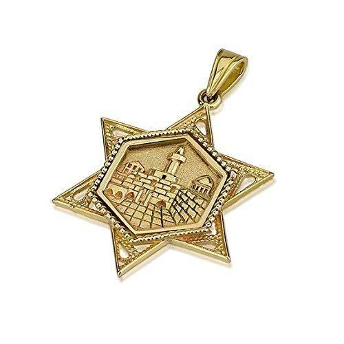Jewish Star Of David Engraving - Baltinester   14k Yellow Gold Jewish Star of David Pendant with Detailed Jerusalem Engraving and Vintage Milgrain Filigree Border