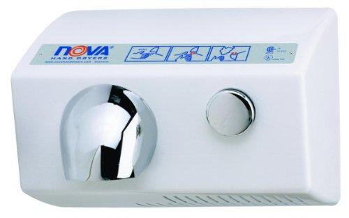 World Dryer Nova 5 0112 Aluminum White Push Button Hand Dryer - 120V (Button Dryer Push Hand)