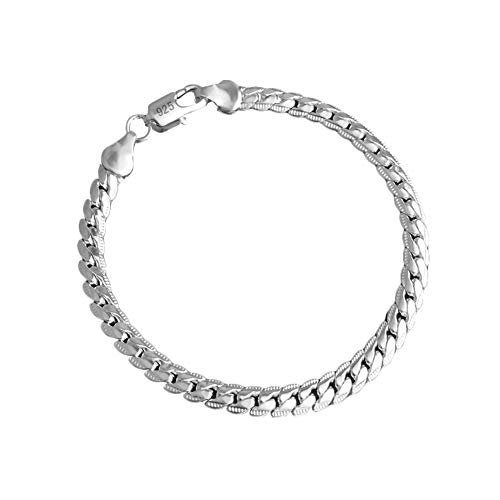 925 Silver Men's Women's Italian 5mm Cuban Curb Link Chain Bangle Bracelet