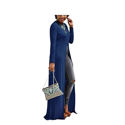 Flymall Women Long Sleeve Open Side Split Long Maxi Dress T Shirts Tops (XL, Blue)
