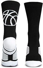 Basketball Sock by ChalkTalk SPORTS   Athletic Mid Calf Woven Socks   Basketball Silhouette   Multiple Colors