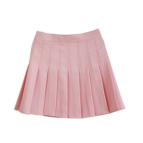 (Women School Uniforms plaid Pleated Mini Skirt Light Pink a 14)