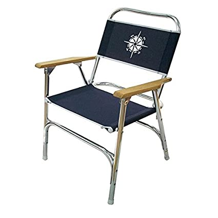 Navy Deck Chair Low Back   Compass Logo Folding Marine Boat Patio Dock