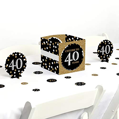 Table Centerpiece Birthday Party (Big Dot of Happiness Adult 40th Birthday - Gold - Birthday Party Centerpiece & Table Decoration Kit)