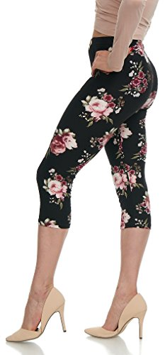 LMB Lush Moda Extra Soft Leggings With Designs- Variety of Prints - - Leggings Print Floral