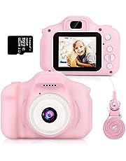 HOMMIE Macchina Fotografica per Bambini Fotocamera 1080 HD 16G SD(Incluso) Selfie Videocamera e 3 Giochi 2 Rosa per 3-10 Anni