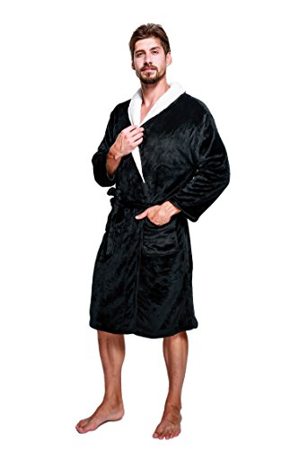 YOUAREFACNY Mens Soft Fleece Bath Robes Plush Shawl Collar Kimono Bathrobes Robes Sleepwears (5 Midnight Until Days)