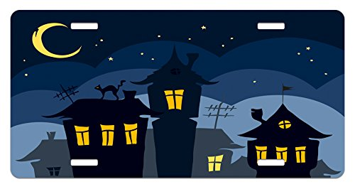 Ambesonne Halloween License Plate, Old Town with Cat on The Roof Night Sky Moon and Stars Houses Cartoon Art, High Gloss Aluminum Novelty Plate, 5.88 L X 11.88 W Inches, Black Yellow Blue