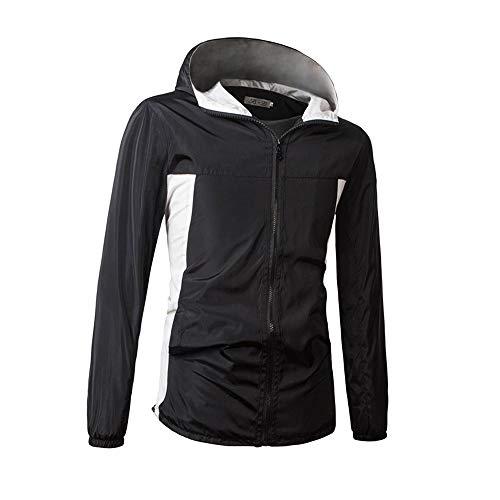 iLXHD Waterproof Light Rain Jacket Sweatshirts Activewear Coats Hoodies for Men (Black B,US XL/CN 3XL)
