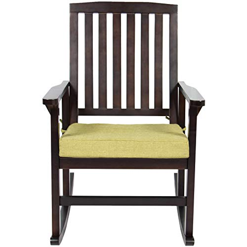 Dj_siphraya Fashioned Patio Deck Rocking Chair w/Foam Cushioned Seat Furniture Brown Made of Hardwood,Foam,Polyester Overall Dimensions:32