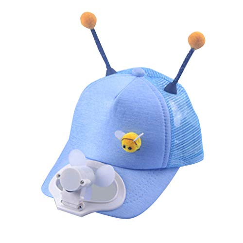 Salaks Kid's Baseball Cap with USB Charging Cooling Fan - Lovely Tentacle Antenna Summer Breathable Cool Shade Outdoor Golf Hat for Age 2-8 Children
