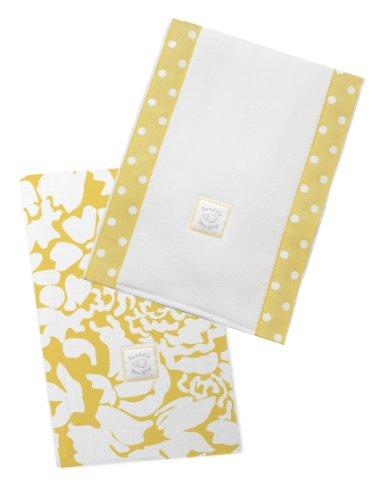 SwaddleDesigns Baby Burpies, Set of 2 Cotton Burp Cloths, Yellow Lush