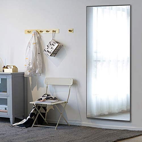MAYEERTY Rectangle Wall-Mounted Mirror Large Full Length Dressing Mirror Bedroom Aluminum Alloy Frame Floor Mirror Hanging Leaning Against Wall 63″x18″