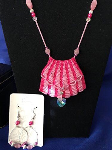 Pink on Pink Bead Knitted Amulet Bag Necklace and Earring Set with gift (Bead Amulet Bag)