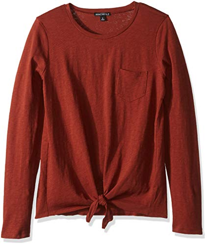 J.Crew Mercantile Women's Long-Sleeve Tie Waist T-Shirt, Burnished Brick, M