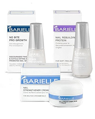 Barielle Nail Deluxe 3-Piece Collection: No Bite Pro Growth .5 oz, Nail Strengthener Cream 1 oz. & Rebuilding Protein .5 oz. (Cream Barielle)