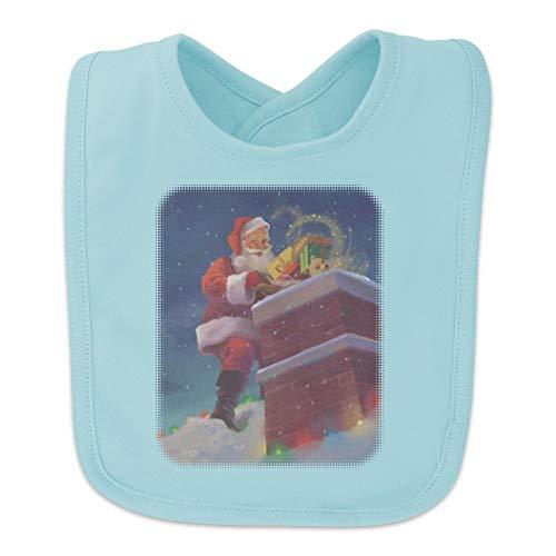 (Christmas Holiday Santa Going Down the Chimney Baby Bib - Blue)