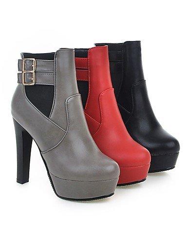 XZZ/ Damen-Stiefel-Kleid-Kunstleder-Blockabsatz-Rundeschuh / Modische Stiefel-Schwarz / Rot / Grau red-us8.5 / eu39 / uk6.5 / cn40