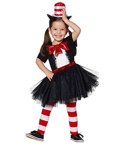 Dr. Seuss Cat in The Hat Costume Dress for Toddlers | Officially Licensed - 5T-6T