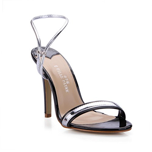 con 10 Mujer ® Best Summer goma negra PU KUKIE 4U Sandalias de tacón nbsp;cm plantillas Mirror Toe Peep nwIOBvx