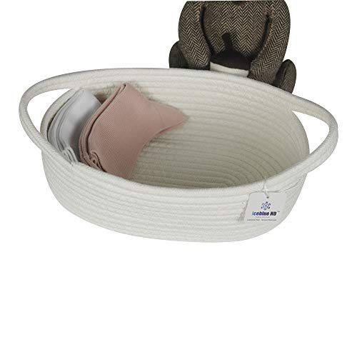 Iceblue 11''X7.1''X4'' Handle Design Cotton Rope Storage Organizer Nursery Baby Toys Storage(Small)
