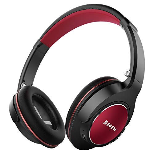 JIUHUFH JH-803 Wireless Over Ear Headphones with Mic, 20 Hour Long Battery Life Bluetooth 4.1 Headsets Lightweight Wireless Earphones Compatible with iPhone/Android Phones/Tablet/iPad/TV - Black&Red