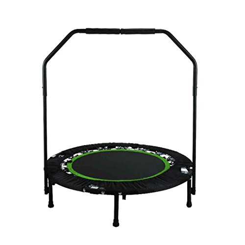 "ANCHEER Fitness Exercise Trampoline with Handle Bar, 40"" Foldable Rebounder Cardio Workout Training for Adults or Kids (Max. Load 300lbs, Zero Stretch Jump Mat) (Green)"